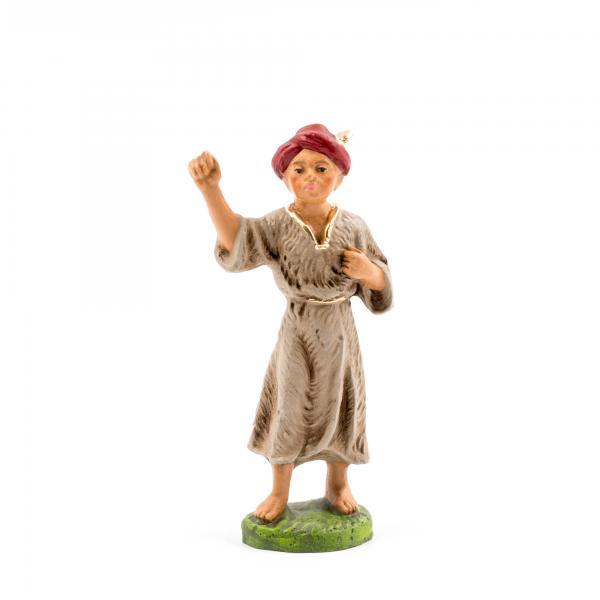 Kameltreiber mit Fellkleid (braune Hautfarbe), zu 10cm Krippenfiguren - Original MAROLIN® - Krippenfigur für Ihre Weihnachtskrippe - Made in Germany