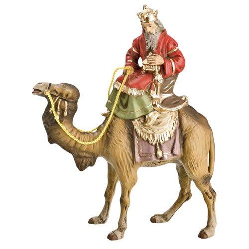 König weiß (Balthasar) zu Kamel, zu 10 - 11cm Krippenfiguren - Original MAROLIN® - Krippenfigur für Ihre Weihnachtskrippe - Made in Germany
