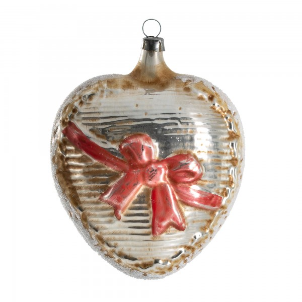 "Glass ornament ""Big heart with red loop"""