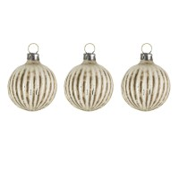 "Set of 3 Glass ornaments ""Little white ball with grooves"""