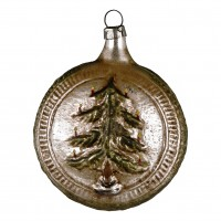 """Glass ornament """"Ball with tree and stars"""""""