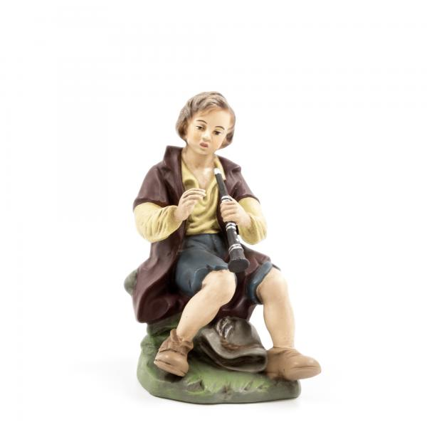 Sitting shepherd with flute, to 8.5 in. figures