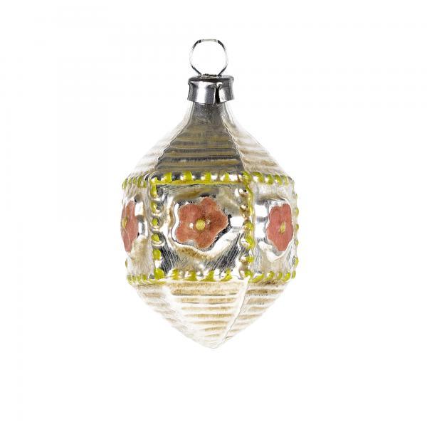 Glas Miniatur Sechseck mit Blüten, patiniert
