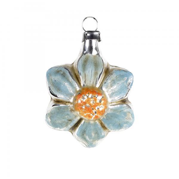 Glas Miniatur Blaue Blüte patiniert