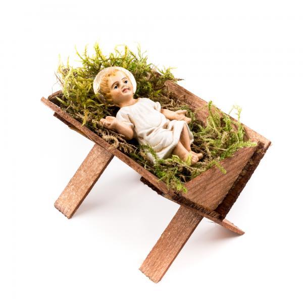 Holzkrippe mit Jesuskind, zu 17cm Figuren