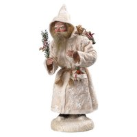 Dressed Santa with white felt coat, sack and wooden toys, in wooden box, H=12 inch