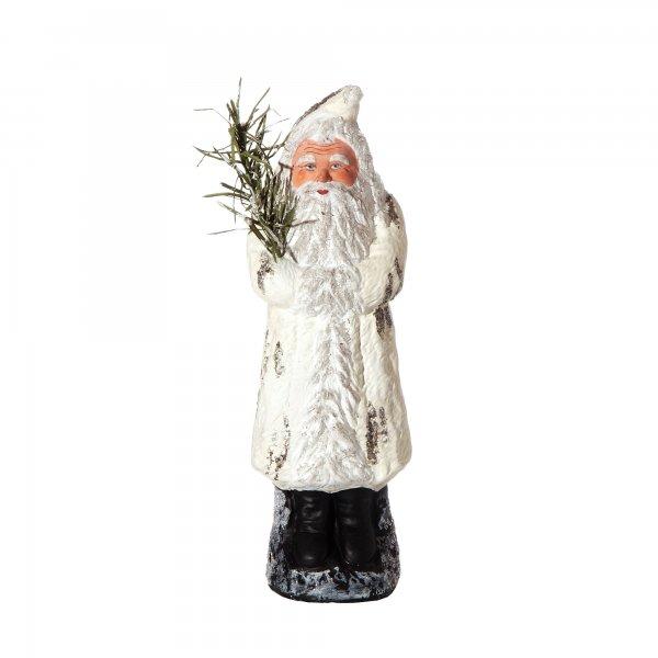 Weihnachtsmann mit Muff auf Sockel, weiß, H=24cm, befüllbar