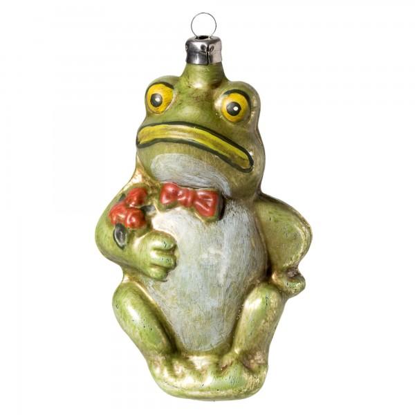 Glas Figur 'Frosch mit Fliege' patiniert