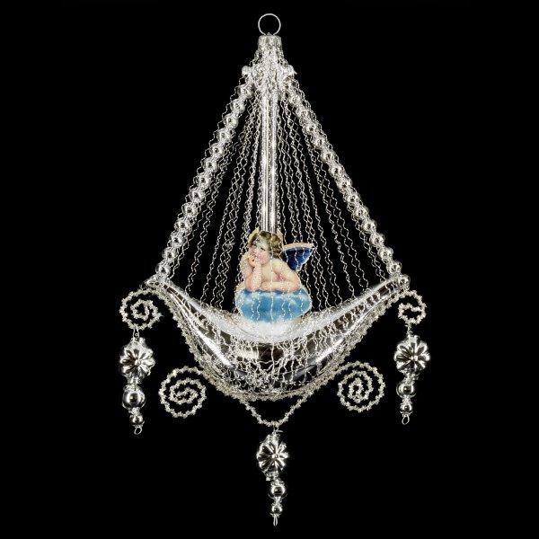 Gondel mit 2 Engel-Oblaten, Kantille und Perlenhänger, silber