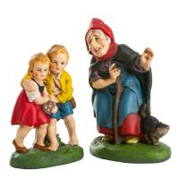 """Hansel & Gretel"" with witch and cat, fairy tale figures, H (witch) = 5 inch"