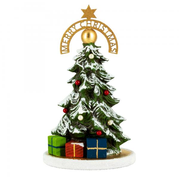 Decorated miniature Christmas tree with golden base plate and white glass mica
