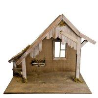Holzstall mit Fenster für 8 - 10cm Krippenfiguren - Original MAROLIN® - Krippenstall für Ihre Weihnachtskrippe - Made in Germany