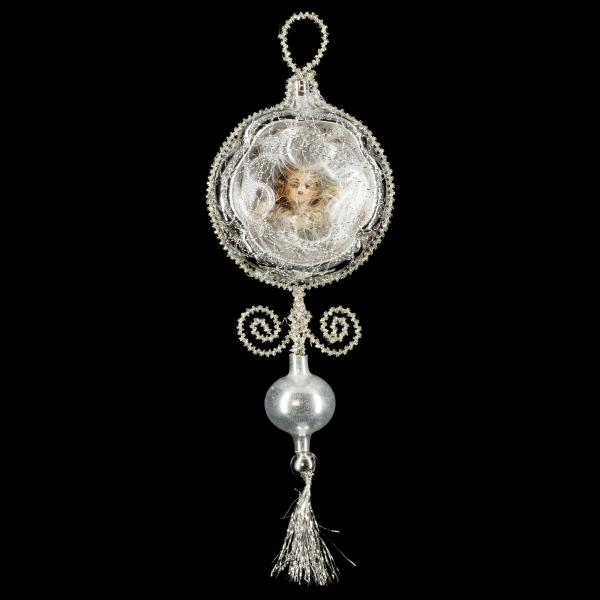 Ornament with Hollow, MAROLIN® - angel head, Lyonese wire and beads, silver