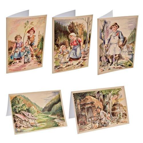 Klappkartensortiment, 5 Motive inklusive Umschläge - ein Artikel aus der Serie  MAROLIN® - Karten - Made in Germany.