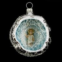 Ornament with Hollow, MAROLIN® - Baby Jesus and lyonese wire, silver