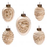 "Set ""Ornamented Easter eggs"", 5 part antique white"
