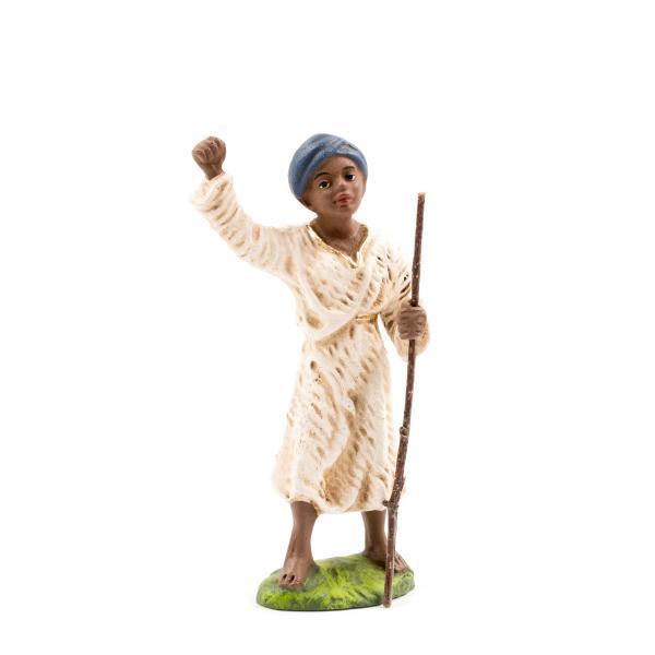 Kameltreiber mit Fellkleid (schwarzes Gesicht), zu 11cm Krippenfiguren - Original MAROLIN® - Krippenfigur für Ihre Weihnachtskrippe - Made in Germany