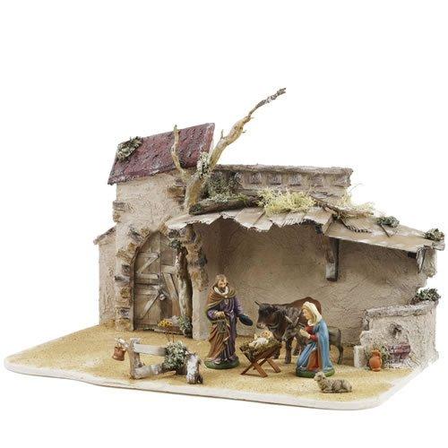 Orientalischer Stall mit Ziegeldach für 14 - 17cm Krippenfiguren - Original MAROLIN® - Krippenstall für Ihre Weihnachtskrippe - Made in Germany