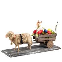 Ostergespann mit Schaf und Hasen auf Kutschbock