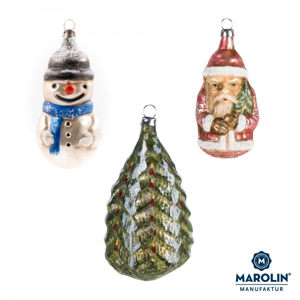 """Set of 3 glass ornaments """"Winter Christmas"""""""