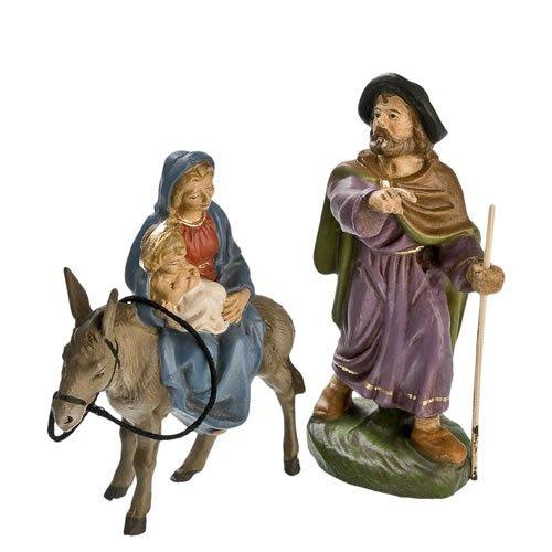 Flucht nach Ägypten, 2 Teile, zu 10cm Krippenfiguren - Original MAROLIN® - Krippenfiguren für Ihre Weihnachtskrippe - Made in Germany
