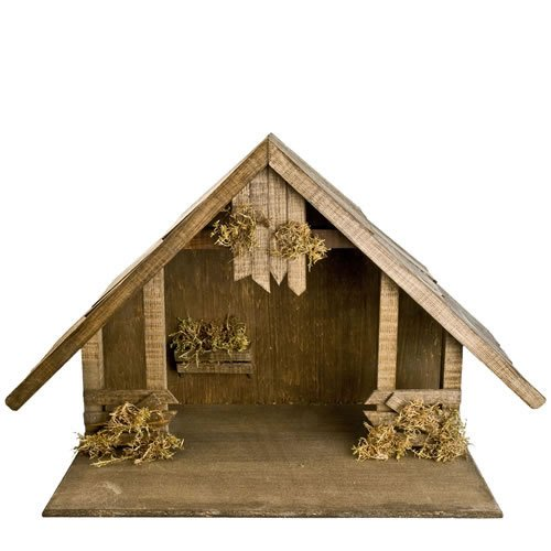 Holzstall mit Satteldach für 14 - 17cm Krippenfiguren