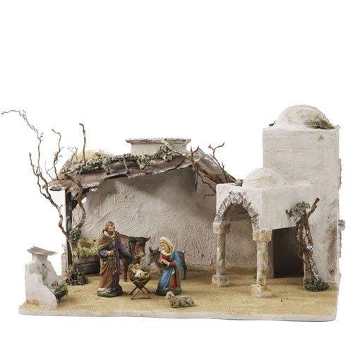Orientalischer Stall mit Portal für 11 - 13cm Krippenfiguren - Original MAROLIN® - Krippenstall für Ihre Weihnachtskrippe - Made in Germany