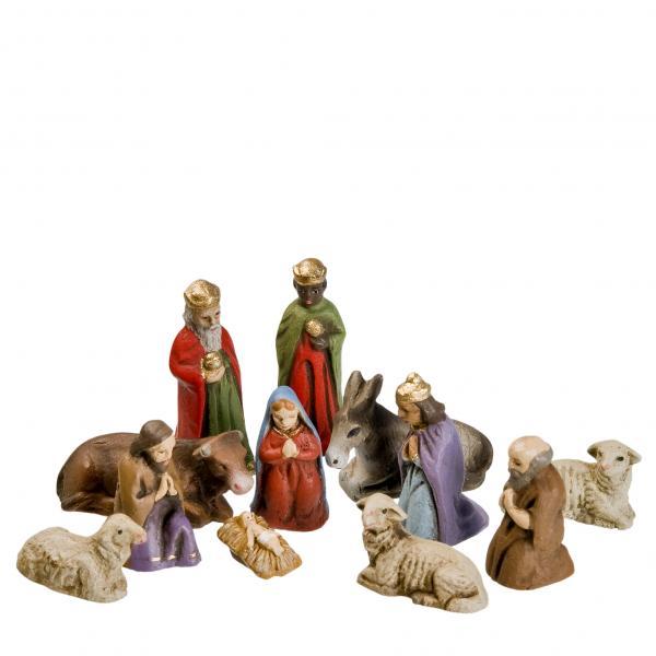 Krippenfiguren Set mit 12 Figuren, 3,5cm Figuren