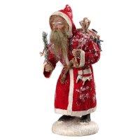 Weihnachtsmann mit rotem Filzmantel, Sack und Spielzeug, in Holzbox, H=30cm
