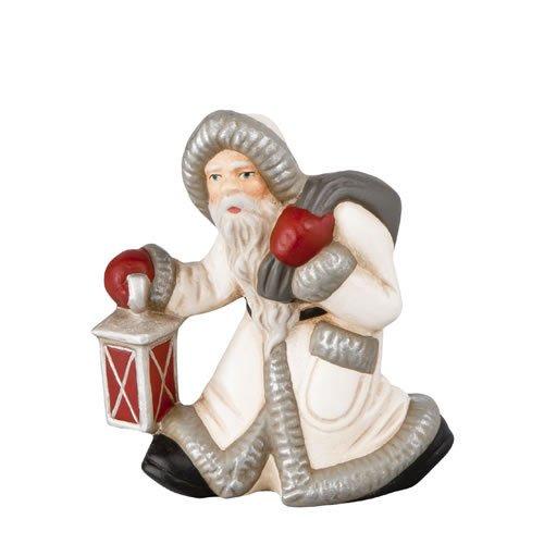Kleiner Weihnachtsmann mit Laterne (Antikweiß), H=9,5cm