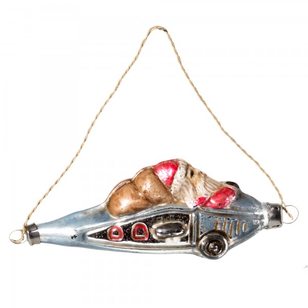 """Glass ornament """"Airplane with Santa"""""""