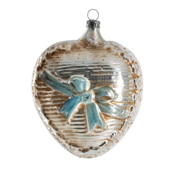 "Glass ornament ""Big heart with blue loop"""