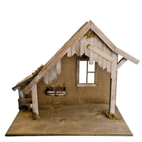 Holzstall mit Fenster für 14 - 17cm Krippenfiguren - Original MAROLIN® - Krippenstall für Ihre Weihnachtskrippe - Made in Germany
