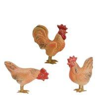 Hühnergruppe, braun (Zinnbeine) 3 Teile, zu 11 - 12cm Figuren