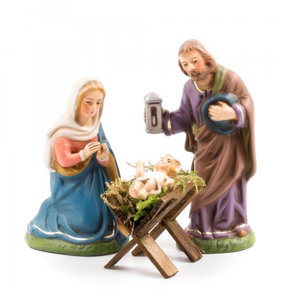 Heilige Familie mit Holzkrippe, 4 Teile, zu 10cm Figuren