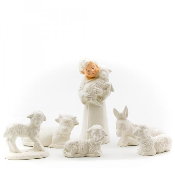 Bastelset Kinderkrippe - Schäfer mit fünf Tieren