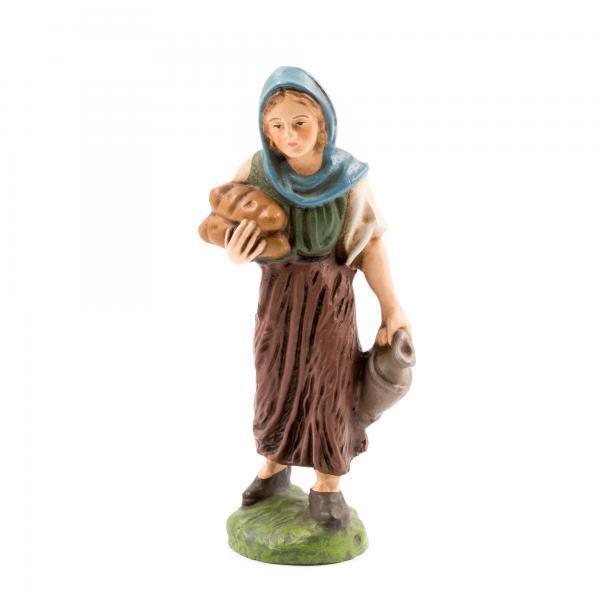 Hirtin mit Brot, zu 10cm Krippenfiguren - Original MAROLIN® - Krippenfigur für Ihre Weihnachtskrippe - Made in Germanyv