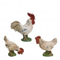Hühnergruppe, weiß (Sockel) 3 Teile, zu 14 - 17cm Figuren