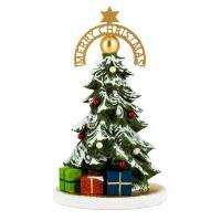 Dekorierter Miniatur-Weihnachtsbaum mit goldener Bodenplatte und weißem Glasglimmer