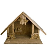 Holzstall mit Satteldach für 8 - 10cm Krippenfiguren - Original MAROLIN® - Krippenstall für Ihre Weihnachtskrippe - Made in Germany