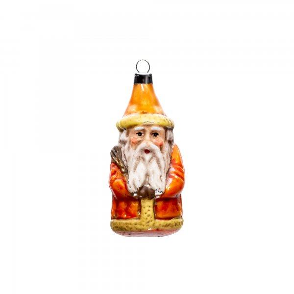 "German Christmas Glass Ornament ""Miniature Santa, orange"""