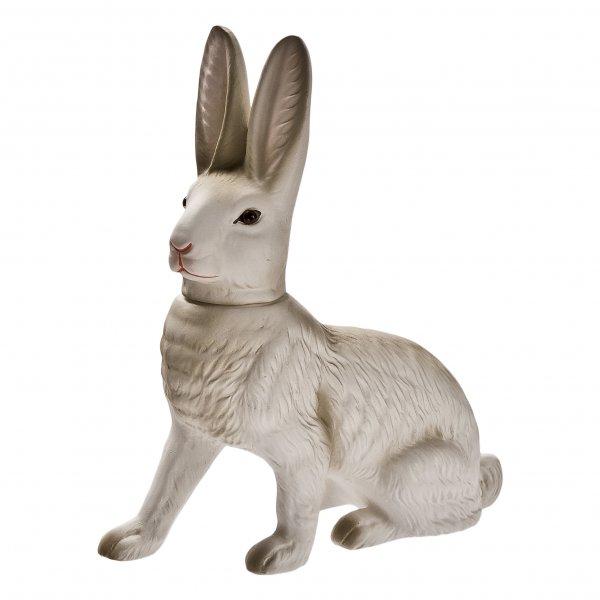 Kleiner Füllhase sitzend, weiß, H=19cm