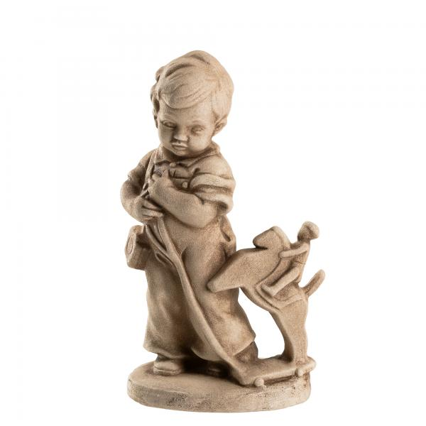 """Boy with little horseman"" H = 5 3/4 in. sandstone optics"