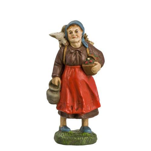 Frau mit Korb und Ziege, zu 10cm Figuren - Original MAROLIN® - Figur für Ihre Weihnachtspyramide oder Weihnachtskrippe  - Made in Germany