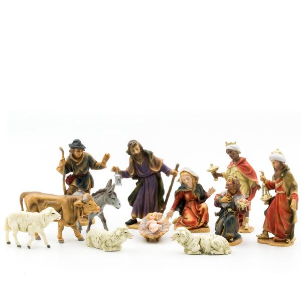 Nativity set with 12 figures, to 4.75 in. size (plastic material)
