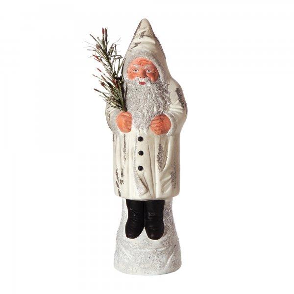 Weihnachtsmann auf Sockel, weiß, H=26cm, befüllbar