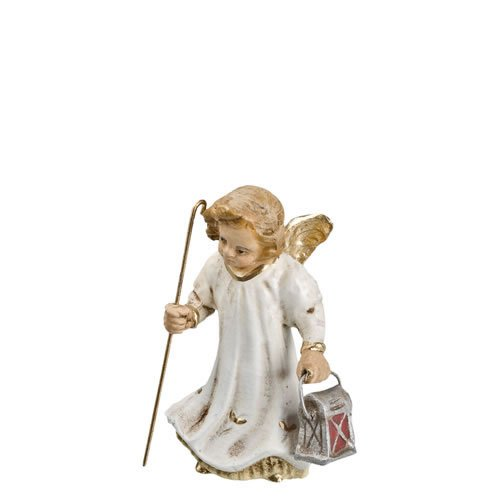 Engelchen mit Laterne (klein), Antikweiß, zu 10 - 11cm Krippenfiguren - Original MAROLIN® - Engel für Ihre Weihnachtsdekoration - Made in Germany