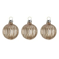"Set of 3 Glass ornament ""Little brown ball with grooves"""