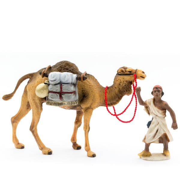 Kamel mit Gepäck und Treiber, zu 12cm Krippenfiguren (Kunststoff)