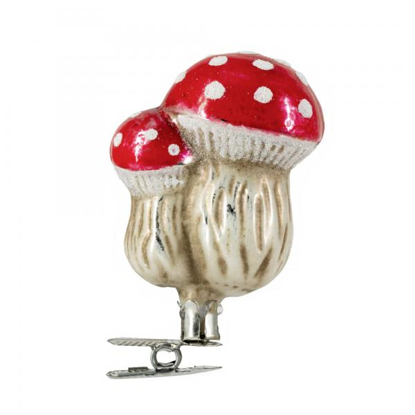 """Glass ornament """"Two fly agaric"""" on clip"""